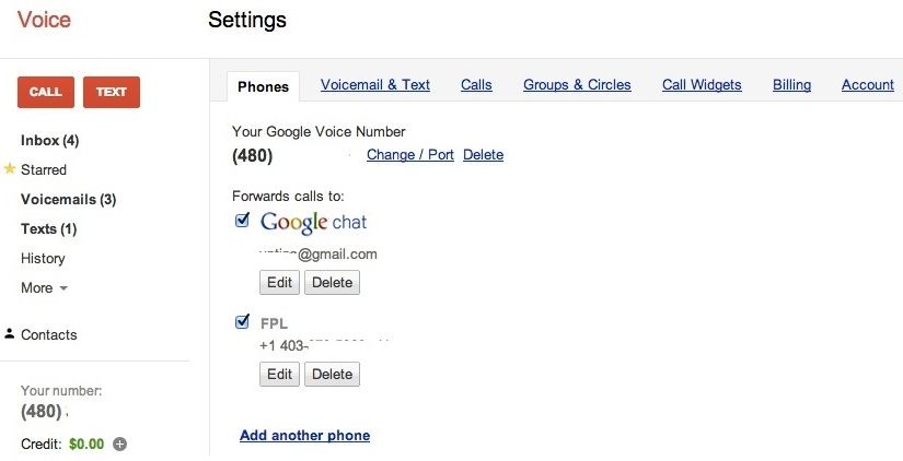 Step 5.1 Google Voice Setting Page