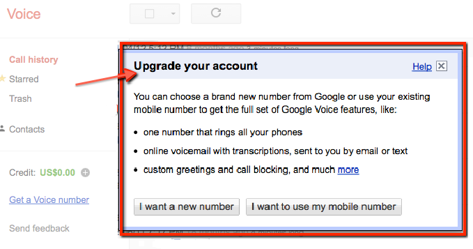 Step 1. Google Voice Upgrade Your Account